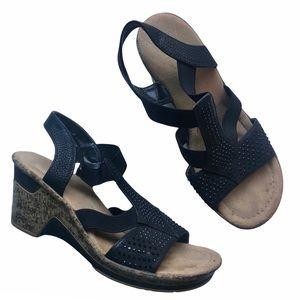 Rieker Rhinestones Sandals Wedges